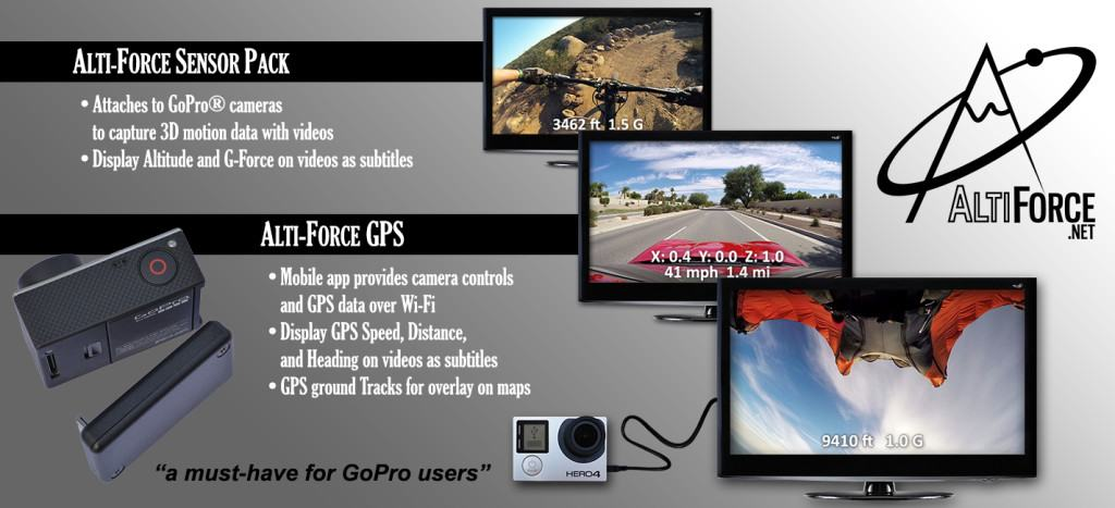 Alti-Force data recorder upgrade GoPro Hero3, Hero3+, and Hero4 cameras